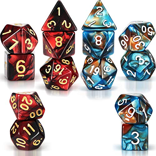 2 Sets Polyhedral 7-Die Dice Set Compatible with Dungeons and Dragons with Black Pouch (Red Black, Blue Gold)