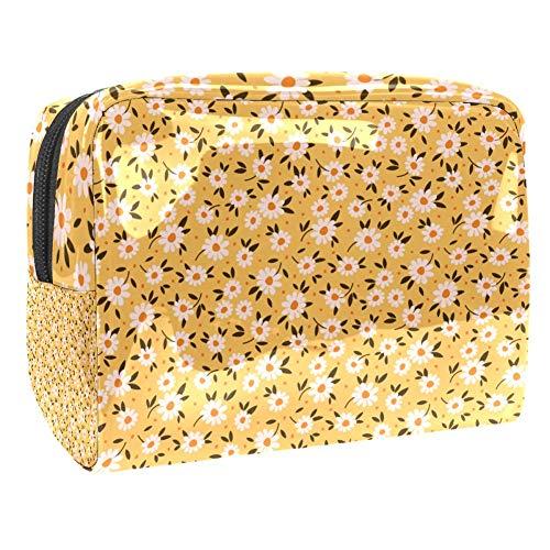 TIZORAX Daisy In Yellow Sacs cosmétiques en PVC Trousse de toilette de voyage organiseur pratique pour femme