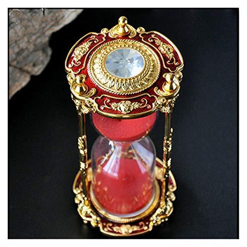 ZIJ Patrones de talla plateado/rojo/azul 15 minutos reloj de arena de cristal de arena reloj reloj reloj de arena vajilla decoración del hogar regalo (color: rojo, tamaño: 15 minutos 7,5 x 16,3 cm)