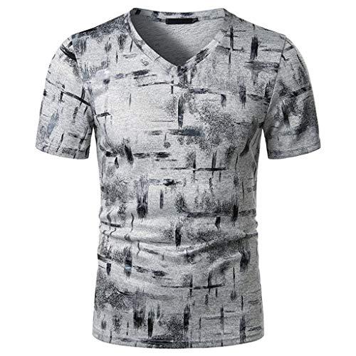 Xniral Herren Sommer Beiläufig Rundhals Kurzarm T-Shirt Tops Slim Shirt Glänzend Streetwear mit Gebogener Saum(c-Grau,XXL)