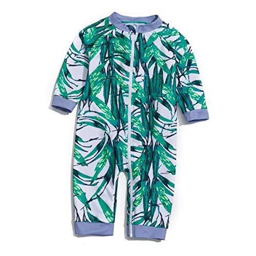 Soui Bañador para bebé con una pieza de protección UV 50+ con una cremallera., Green the Leaves, 6 Meses
