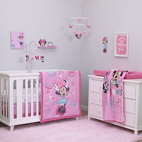 Disney Baby Minnie Mouse All About Bows 4 Piece Nursery Crib Bedding Set, Pink, Aqua