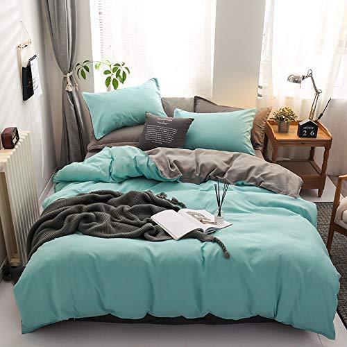 Damier Ropa de cama de 220 x 240 cm, color turquesa, verde y gris, reversible, juego de 3 piezas, suave microfibra, monocolor, funda nórdica con cremallera y 2 fundas de almohada de 80 x 80 cm