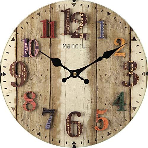 Mancru 1CM de grosor Reloj de pared redondo de gran tamaño en estilo vintage Multicolor10 25cm