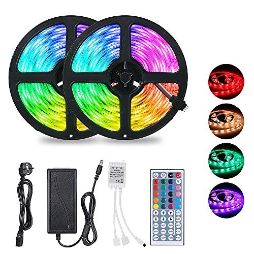 10M Tiras LED RGB 5050,300 LEDs Tiras LED de Luces Kit con Control Remoto IR de 44 Teclas,Impermeable IP65,Adaptador de Alimentación 12V 6A,Luces Led Decoracion para el Hogar,Cocina,Navidad