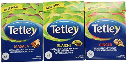 Tetley Tea Variety Bundle - 3 VARIETY PACK (Tetley Tea Elaichi, Tetley Tea Ginger and Tetley Tea Masala)72 TEA BAGS PER BOX