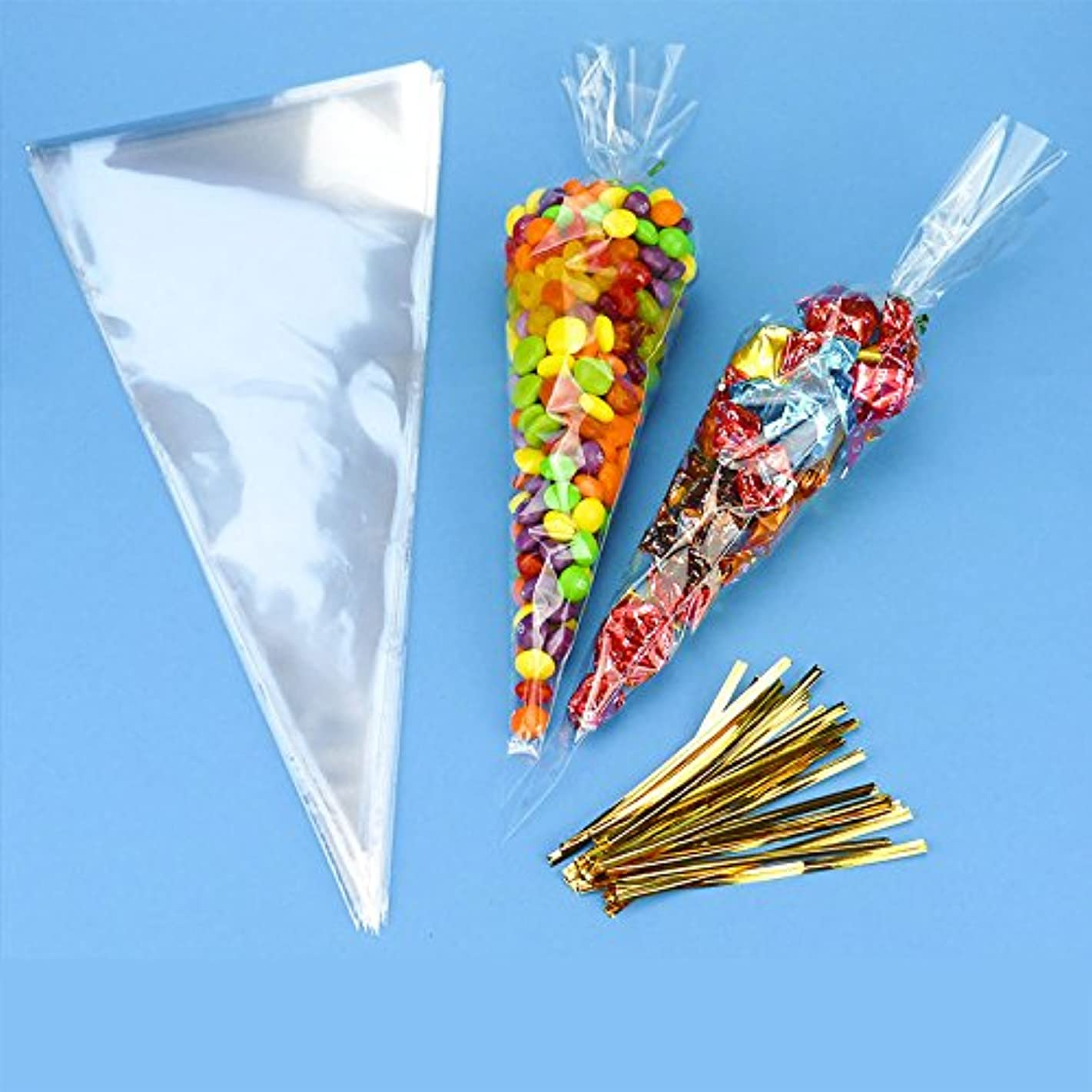 Loriver 50 Cellophane Tapered Bags and Ties Candy Party Wedding Gift Bag