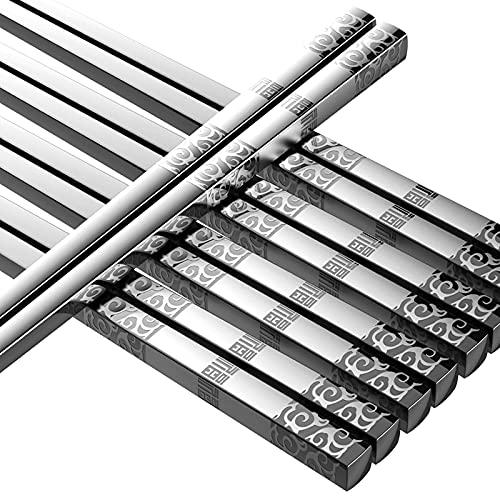Metal Chopsticks Reusable 5 Pairs Stainless Steel Chopsticks Dishwasher Safe Square Lightweight Non-Slip Chop Sticks Gift Set (Silver)
