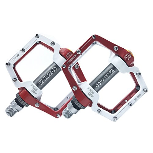 OZUZ BMX MTB Mountain Bike Bicycle Aluminum Pedals Three Sealed Bearing Shock Absorption Pedal 9/16'