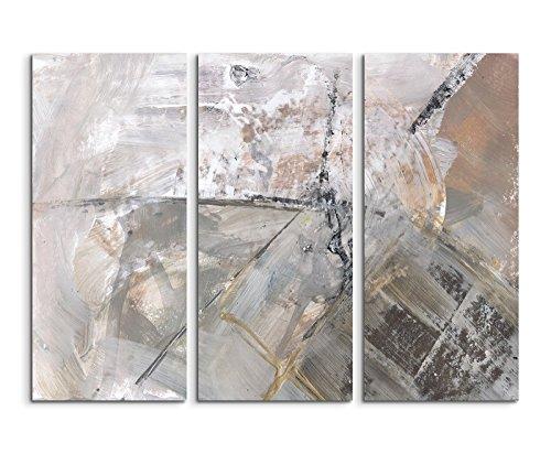 130x90 cm Abstraktes 3 teiliges Leinwandbild Fotoleinwand grau schwarz beige weiß Schlieren Abstrakt! Abstraktes Leinwandbild für jede kahle Wand! bestforhome Ihr Partner für schöne Bilder und Kunst!