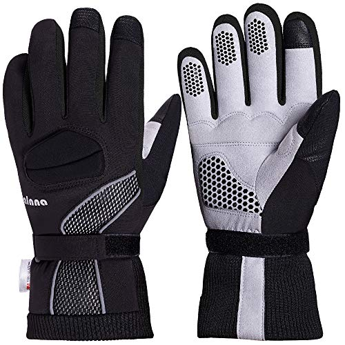 Balnna Mens Ski Gloves, Multi-Functional Snowboard Gloves with 3M Thinsulate, Touch Screen Waterproof Winter Gloves (Large, Black&Gray-B)