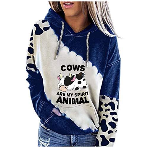 XIAOYUER Sudadera con capucha para mujer con estampado de vacas y gatos, para otoño e invierno Blau8 XXL