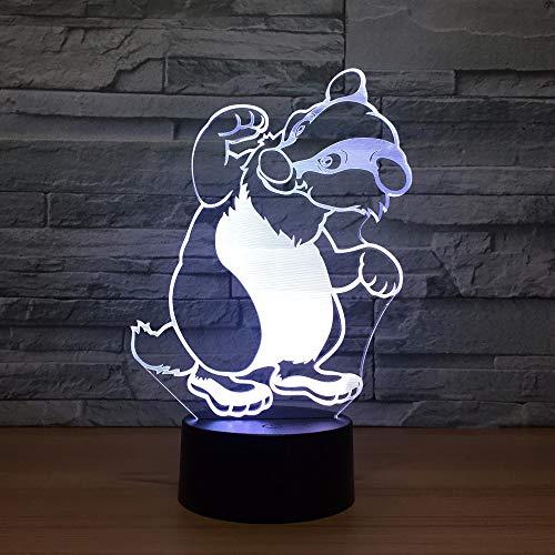 Lindo Perro Oso ilusión lámpara Cambio de Color Toque