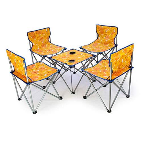 Oxford Table de Pique-Nique Pliante Portable en Alliage d'aluminium Ultra-léger extérieur Table de Camping Barbecue (Color : Orange, Taille : 5-Piece Set)