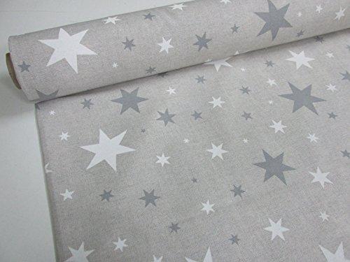 Confección Saymi Metraje 0,50 MTS Tejido loneta Estampada Ref. Estrella Gris, con Ancho 2,80 MTS.