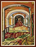 Amiiba Kit de punto de cruz estampado, pasillo del hospital mental DIY 11CT 18.5x23.6 pulgadas (Van Gogh)
