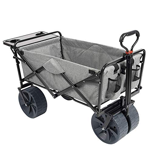 MacSports Collapsible Folding Outdoor Beach Wagon with Side Table, Perfect for Camping, Concerts, Sporting Events, The Beach, and More - Light Gray thumbnail image
