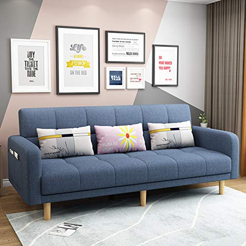 Modern Fabric Folding Sofa, Futon Couch Sleeper Sofas, Living Room Loveseat Seating And Sofa Bed, Multifunctional Pull-Out Couch Sofa Convertible Bed Furniture for Apartment,blue B,1.7M