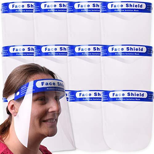 TE-Trend 12 Stück Vollvisier Gesichtsvisier Gesichtsschutz Face Shield Gesichtsschirm Spuckschutz Visiermaske Kunststoff Transparent
