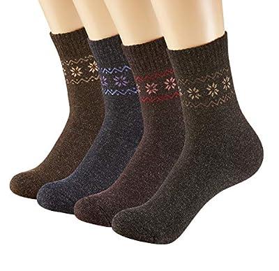 Pack of 4 Winter Warm Wool Socks Hiking Socks Knit Crew Socks for Women Soft and Comfortable
