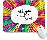 NIESIKKLAマウスパッド ヴィンテージ必要なのは愛バレンタインインスピレーション吹き出しヒッピーレトロポスター ゲーミング オフィス最適 高級感 おしゃれ 防水 耐久性が良い 滑り止めゴム底 ゲーミングなど適用 用ノートブックコンピュータマウスマット