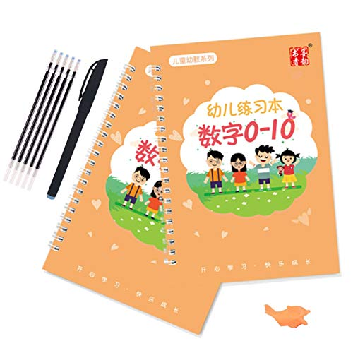 2pc Reusable Children 3D Copybook for Calligraphy Numbers 0-10 Handwriting Books Learning Math Writing Practice Book for Kids Toys