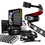 OPT7 Aura Interior Car Lights LED Strip Kit-16+ Smart-Color, Soundsync, Door Assist, Show Patterns, and Remote-Accent Underdash Footwell Floor, 6pc Single Row