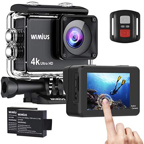 Relimi Action Cam 4K 16MP Touch Screen WiFi HD Action Kamera wasserdichte Unterwasserkamera 30M Sport Camera 170° weitwinkel Objektiv mit Fernbedienung 2 Akkus 1050mAh und Zubehör Kit