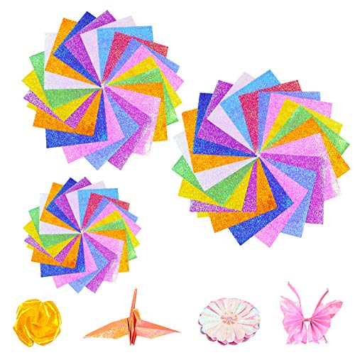 WANDIC Origami Paper, 150 hojas de papel brillante de una sola cara,...