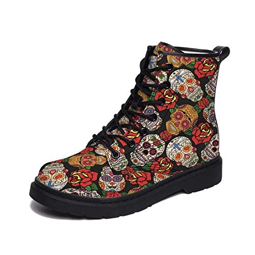 Hombres Botas Calavera De Azúcar Mexicana Y Rosas Día Muerto Zapatos De La Zapatilla De Deporte