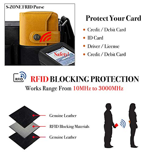 S-ZONE Small Womens Ladies Wallet Genuine Leather RFID Blocking Short Wallet for Women with ID Window Purse