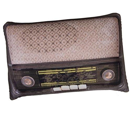 Dekokissen Retro Radio, 25 x 35 cm, Fotoprint-Motiv von Vintage Radio, Maße (H x B): ca. 25 x 35 cm, Material: 100% Polyester, Füllgewicht je Kissen: ca. 175 g, originelles Sofakissen, Farbe:hellbraun
