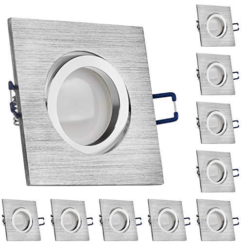 LEDANDO 10er LED Spanndecken Einbaustrahler Set Bicolor (chrom/gebürstet) 5W DIMMBAR GU10 Deckenstrahler - Spots - Deckspot - 230V