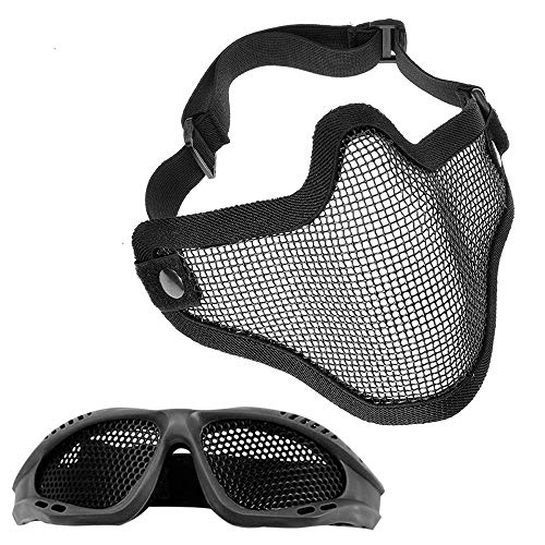 MOPOIN Juego de máscaras y Gafas Airsoft, máscara de Malla de Acero Completa de Media Cara y Gafas para CS/Caza/Paintball/Disparos