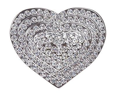 Rhinestone Heart Belt Buckle Color: Silver