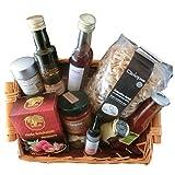 Delikatessen-Geschenkkorb mit Créma di Balsamico, Nudeln, Saucen, Öl, Essig, Gewürz und heißer Schokolade