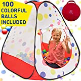 Kiddey Kids Ball Pit Play Tent - 100 Ball Pit Balls Included - Pops up No...