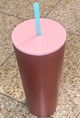Starbucks Trinkhalmbecher 2019 Holiday Season Blue Straws Gradient Pink (680 ml)