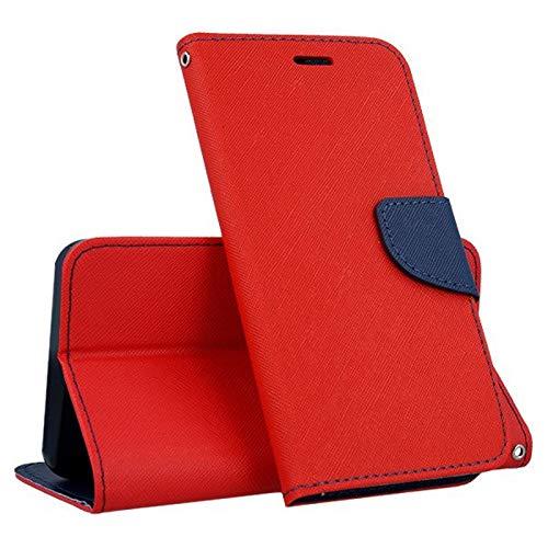 Compatibile per HUAWEI NOVA YOUNG 4G LTE MYA-L11 / Y5 (2017) MYA-L03 L23 L02 L22 Custodia COVER flip LIBRO STAND GEL magnetica PORTAFOGLIO eco pelle porta carte rosso