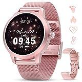 GOKOO Smartwatch Mujer Rosa Reloj Inteligente IP68 Impermeable Rastreador de Fitness Pantalla Táctil Completa Reloj Deportivo Inteligente Pulsómetros Podómetro Calorías Compatible con iOS Android