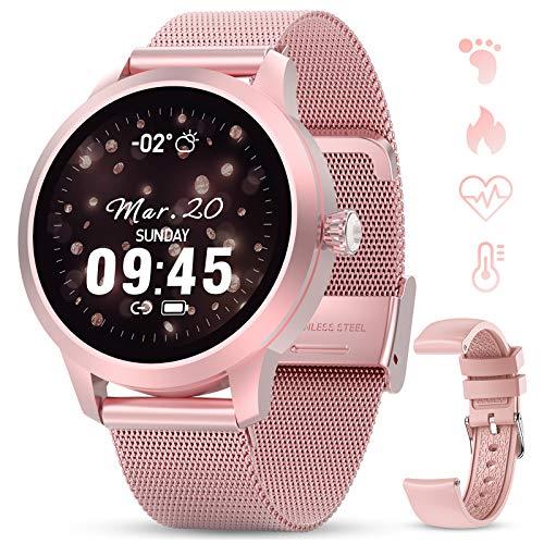 GOKOO Smartwatch Volle Touchscreen Sportuhr Schrittzähler Pulsuhren Stoppuhr Aktivitätstracker Herzfrequenz für Android iOS Handy Benachrichtigungen IP68 Wasserdicht Damen Frauen