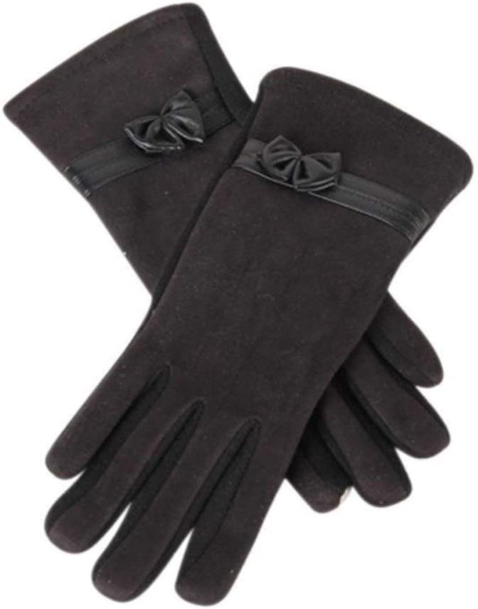 FASGION 1 Pair Women Gloves Auutmn Winter Suede Warm Full Finger Mittens Elegant Lady Bow Glove Winter Gloves (Color : Black)
