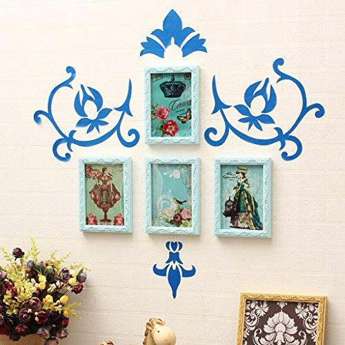 4 Photo Frame Combinaison en bois massif Photo Wall, chambre d'enfant Chambre salon style européen Photo Wall, blanc, bleu, rose, vert (Color : Blue)