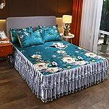 Zhiyuan Print Ice Silk Summer Cool Ruffled Bedspread Sheet Set, King, Dark Green