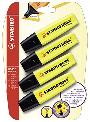 Textmarker - STABILO BOSS ORIGINAL - 4er Pack - gelb