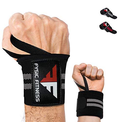 Fysic Fitness Handgelenk Bandagen, Wrist Wraps, 45 cm Hangelenkbandage für Fitness, Gewichtheben, Krafttraining, Gym, Crossfit, Calisthenics und Bodybuilding 1 Paar Für Damen und Herren