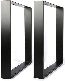 mylystar テーブル 脚 アイアン 口型 パーツ レッグスクエア 2個1組 奥行65 高さ71cm ブラック スチールテーブル脚 鉄脚