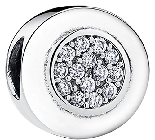 SaySure - 925 Sterling Silver Round Charm Clear CZ