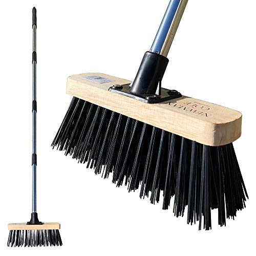 "Newman & Cole Garden Broom Outdoor, 10"" Stiff Yard Brush with Hard Synthetic PVC Bristles and..."