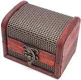 POFET Caja de Almacenamiento de Madera con Cerradura de Metal Vintage Caja de Regalo para Cofre Organizador de Tesoros de joyería - Red de Hierro